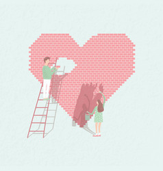 Concept love is work couple in love build vector