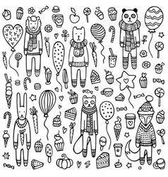 cute hand drawn background with animals vector image