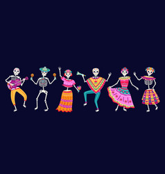 dancing skeletons dead day party sugar skull or vector image