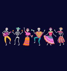 dancing skeletons dead day party sugar skull vector image