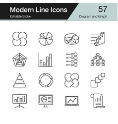diagram and graph icons modern line design set 57 vector image
