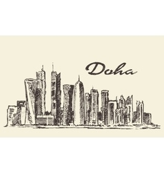 Doha skyline hand drawn vector image