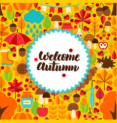Flat autumn postcard vector