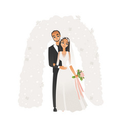 flat bride and groom wedding ceremony vector image
