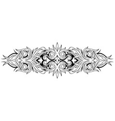 Floral black and white tattoo ornamental pattern vector