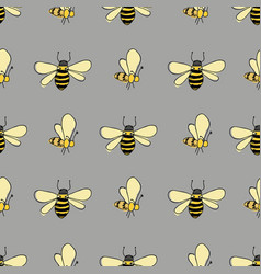 Flutter bees in lines on gray background seamless vector