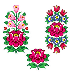 folk art polish designs with flowers vector image