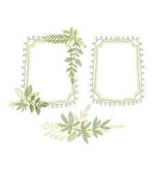 Green floral hand drawn frame leaves decoration vector