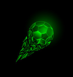 Green neon broken soccer ball with fragments tail vector