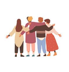 Group men and women hugging and waving hands vector