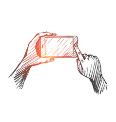 hand drawn gadget in human hands vector image