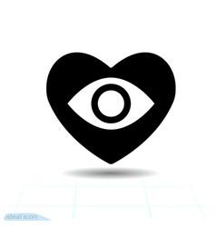 heart black icon love symbol eye floats vector image