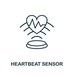 Heartbeat sensor outline icon thin line style vector