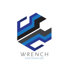 hexagon wrench logo vector image