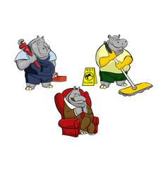 hippo any job colored mascot logo premium vector image