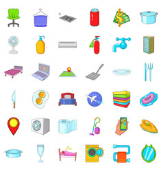 hotel service icons set cartoon style vector image
