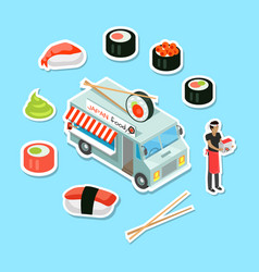 Japan food street eatery in isometric projection vector