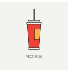Line flat color icon elements of movie vector image