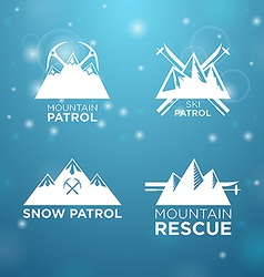 Logotype ski mounrain and snow patrol with vector