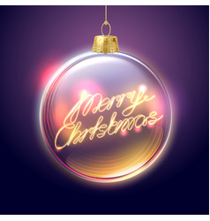 merry christmas lettering in tree ball vector image