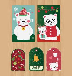 merry christmas with polar bear image vector image