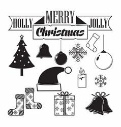 monochrome christmas icon vector image