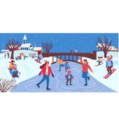 People in winter park men and women skating vector