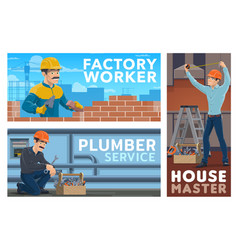 plumber builder and house master banner vector image