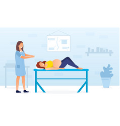 Pregnant woman being examined in doctors office vector