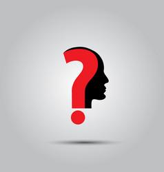 Question mark human head symbol vector