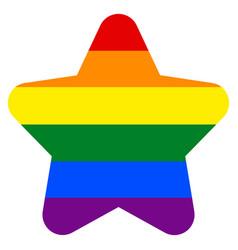 rainbow flag in star shape vector image