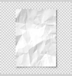 Realistic blank crumpled paper sheet in a4 format vector