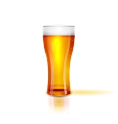 Realistic Isolated glass of beer with drops vector image
