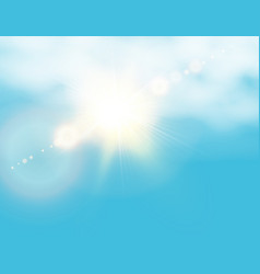Realistic shining sun with lens flare blue sky vector