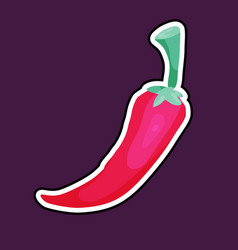 red chilli pepper cartoon icon vector image