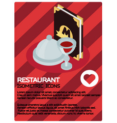 Restaurant color isometric poster vector