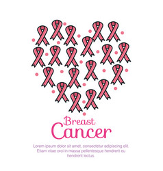 Ribbons pink breast cancer pattern vector