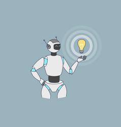 Robot or humanoid hold lightbulb generate idea vector