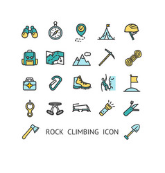 rock climbing sign color thin line icon set vector image
