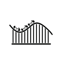 Roller coaster black simple icon vector image