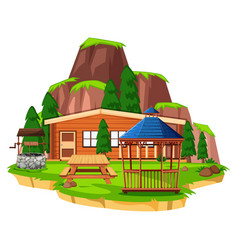 Scene with wooden house and field vector