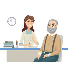 Senior man talking with a doctor - flat design vector
