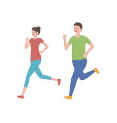 set a man and a woman running vector image