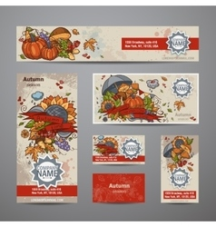 set autumn flyers cards banners vector image
