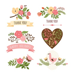Set floral graphic elements vector