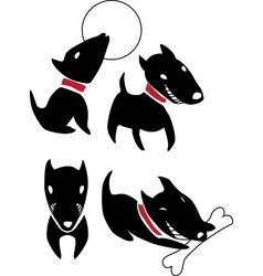Set of funny cartoon black dogs vector image
