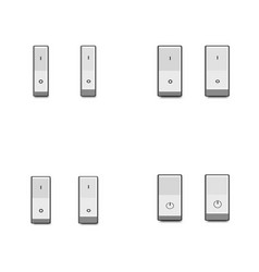 set of realistic toggle switches in on and off vector image