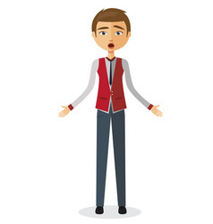 shocked young businessman surprised man vector image