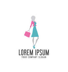 shoping woman logo design concept template vector image