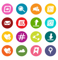 social network icons set colorful circles vector image